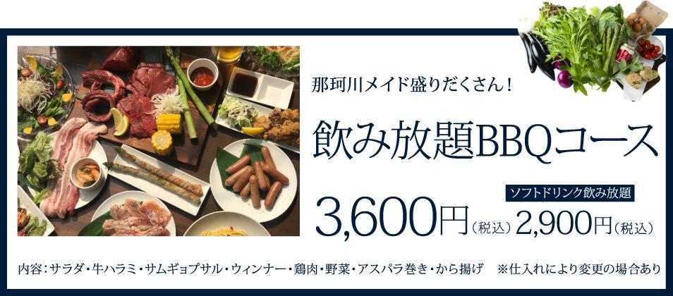 那珂川メイド盛りだくさん!飲み放題BBQコース 3600円(税込)ソフトドリンク飲み放題 2900円(税込)