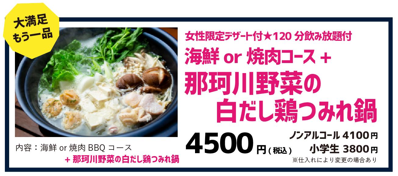 飲み放題付き海鮮or焼肉コース+那珂川野菜の白だし鶏つみれ鍋 4500円(税込)ノンアルコール 4100円(税込)